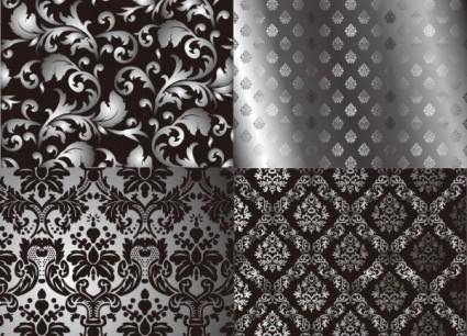 Black and white twoparty continuous pattern vector