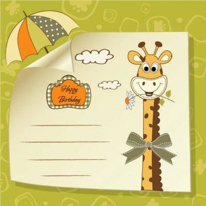 Giraffe greeting card 03 vector