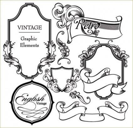 free vector European gorgeous classic lace pattern vector 3