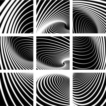 free vector Dynamic black and white spiral pattern 01 vector