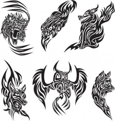 Classic animal tattoo patterns 04 vector