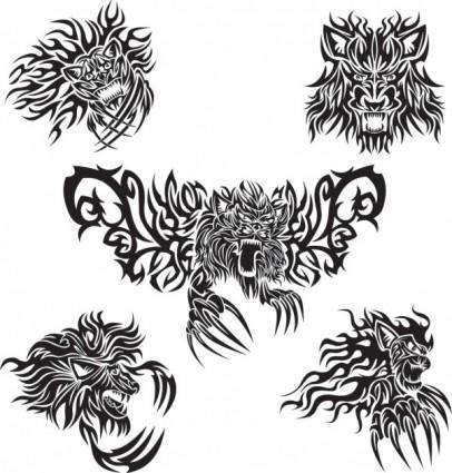 free vector Classic animal tattoo patterns 05 vector