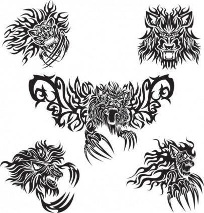 Classic animal tattoo patterns 05 vector