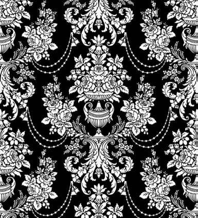 Classic traditional black and white pattern 02 vector