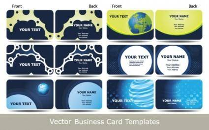 Blue business card template technology sense 02 vector