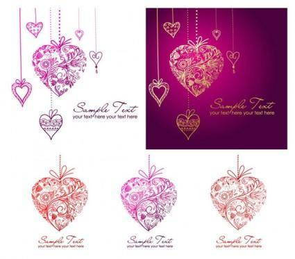 Pattern composed of vector heartshaped pendant