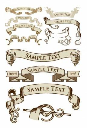 free vector European old ribbon vector