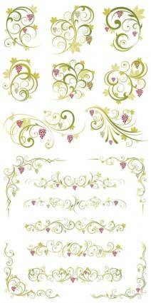 free vector Green lace pattern vector