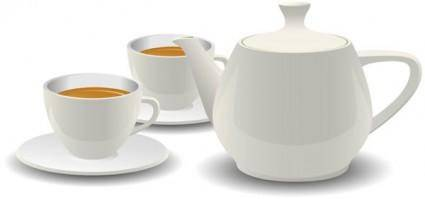 White porcelain tea set vector