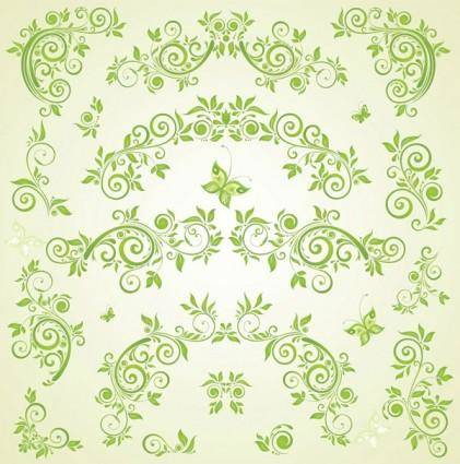 Green butterfly european pattern vector