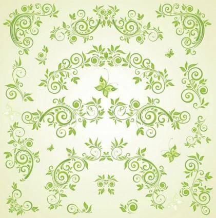 free vector Green butterfly european pattern vector