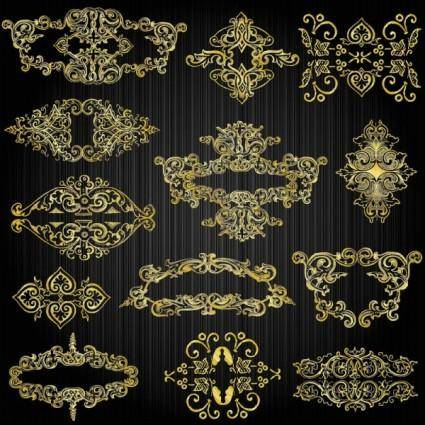 free vector Beautiful gold pattern 03 vector