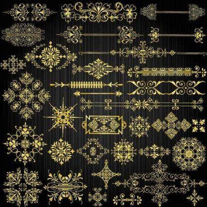 free vector Beautiful gold pattern 04 vector