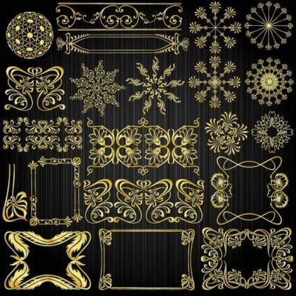free vector Beautiful gold pattern 01 vector