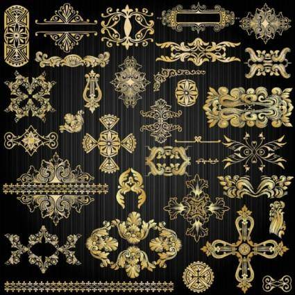 free vector Beautiful gold pattern 02 vector