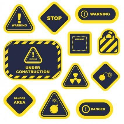 free vector Yellow warning signs and labels 02 vector
