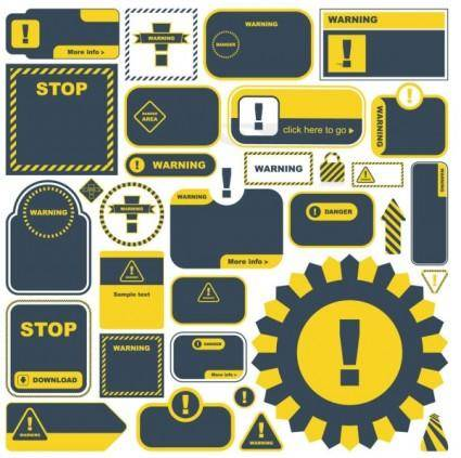 Yellow warning signs and labels 03 vector