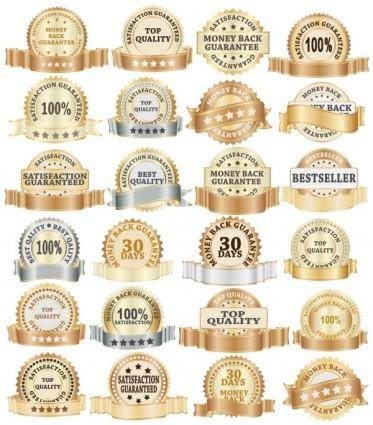 free vector Golden bottle label collection 02 vector