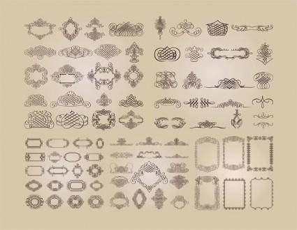 A variety of fine lace border vector pattern