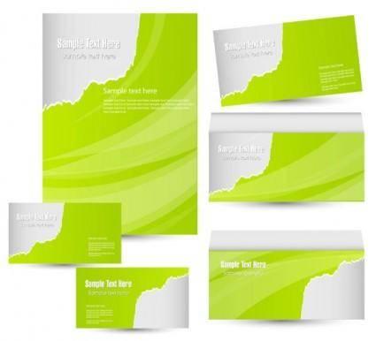 free vector Green card template 02 vector