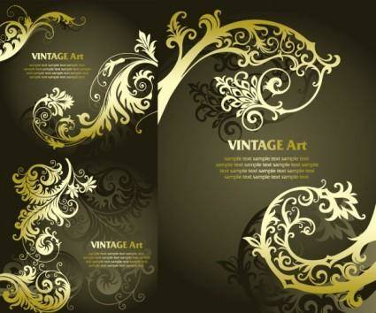Golden european classical pattern vector