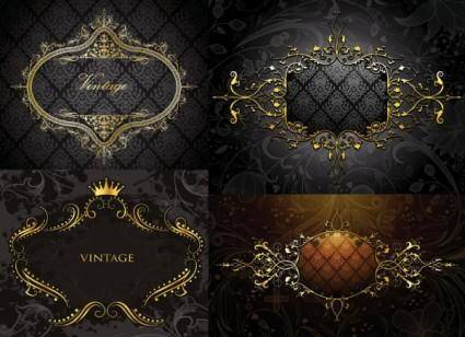 European gold border shading pattern vector