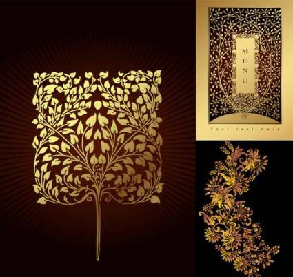 Golden tree pattern vector