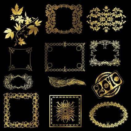 12 golden lace pattern vector