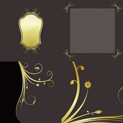 4 gold lace pattern vector