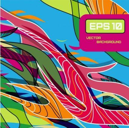 free vector Beautiful color line patterns 01 vector