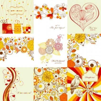 Exquisite handpainted patterns 01 vector