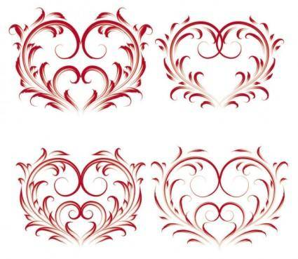 Exquisite heartshaped pattern vector