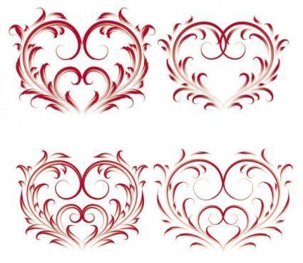 Exquisite heartshaped pattern vector