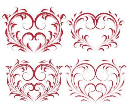 4 beautiful heartshaped pattern vector