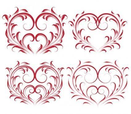 4 beautiful heartshaped pattern vector