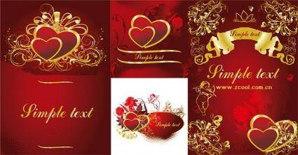 4 gold heartshaped pattern vector