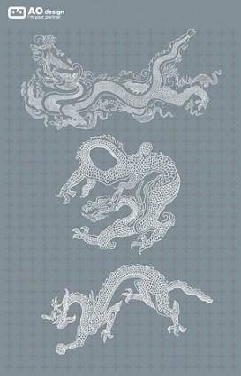 Chinese classical pattern vector line drawing dragon