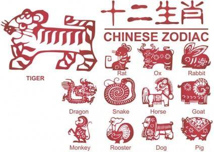 12 new paper cutting pattern vector zodiac