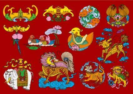 free vector 12 chinese folk auspicious patterns vector
