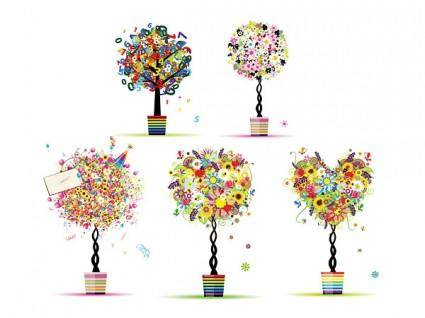 Pattern composed of colorful trees vector