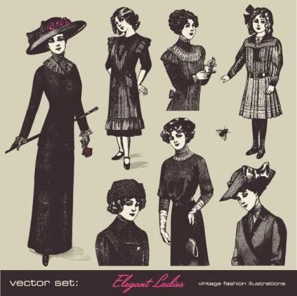 Retro fashion model 05 vector