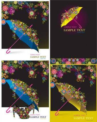 Umbrella colorful pattern vector