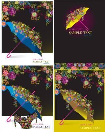 free vector Umbrella colorful pattern vector