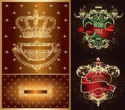free vector Crown european pattern vector nonoriginal works