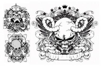 Skull printed pattern vector