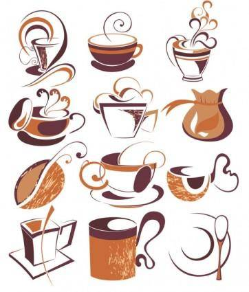 free vector Coffee draft line elements 01 vector