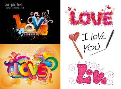 Love love colorful pattern vector