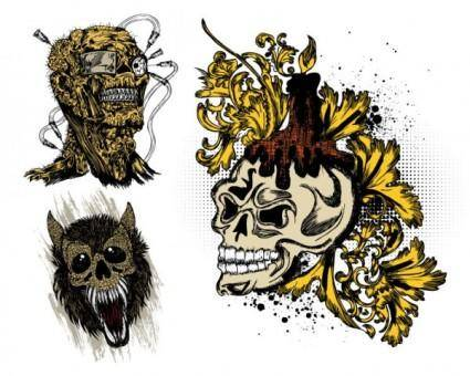Trend skull tshirt printed pattern vector