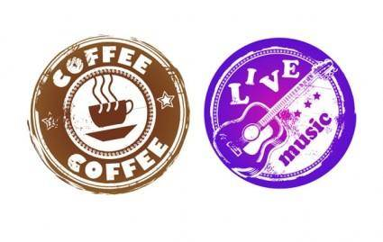 free vector Retro coffee and music theme circular pattern vector