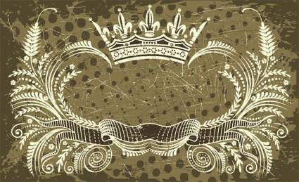 Nostalgic european crown ribbon pattern vector